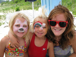 Girls with face painting at Norfork Lake