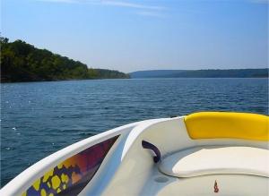 Boat on smooth lake