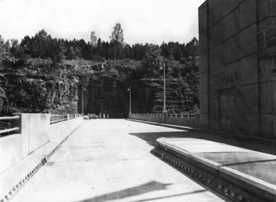 Norfork Dam roadway in 1950