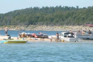 Boats on beach at Sand Island