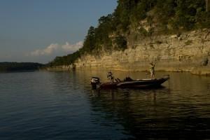 Fishing boat at dawn on Norfork Lake