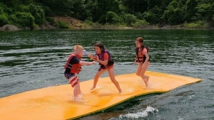Kids playing on water mat