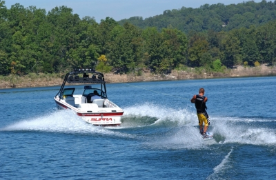 Water skiing on Norfork Lake