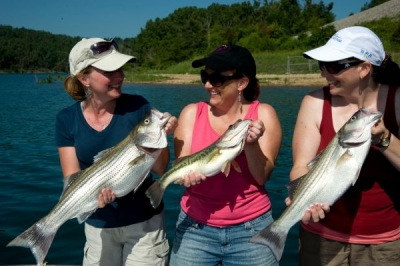 Three ladies with fish at Norfork Lake